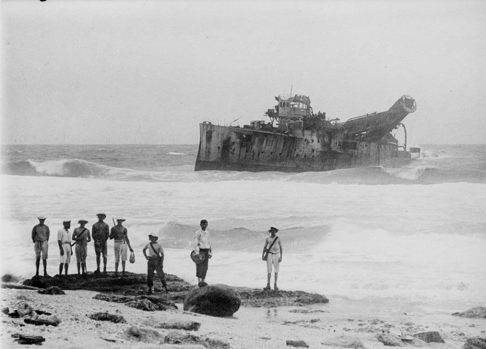 Emden, beached on North Keeling Island